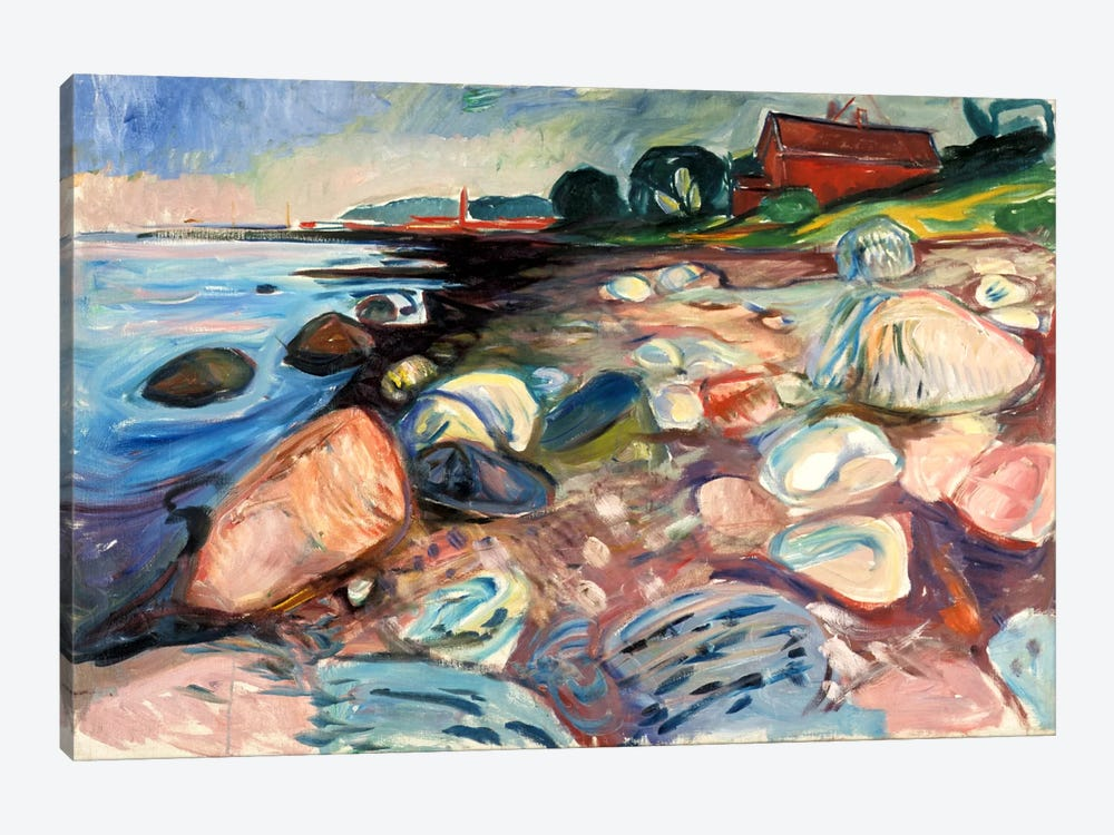 Shore with the Red House, 1904 by Edvard Munch 1-piece Art Print