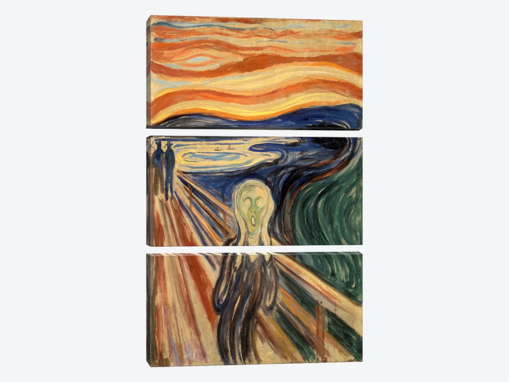 The Scream, 1910 by Edvard Munch 3-piece Canvas Artwork