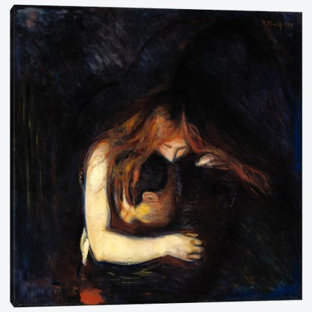 The Vampire (Love and Pain), 1894 Canvas Print #15234} by Edvard Munch Canvas Wall Art