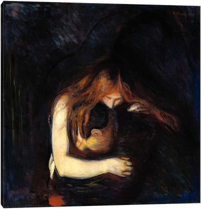 The Vampire (Love and Pain), 1894 by Edvard Munch Canvas Wall Art