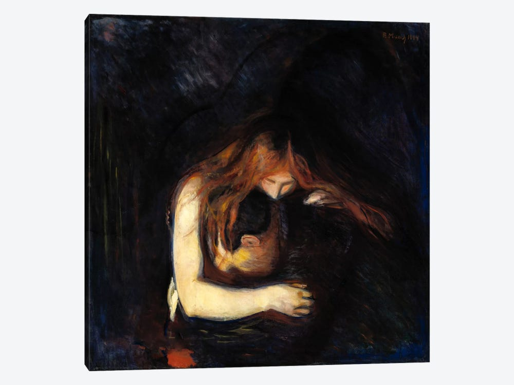 The Vampire (Love and Pain), 1894 by Edvard Munch 1-piece Canvas Wall Art