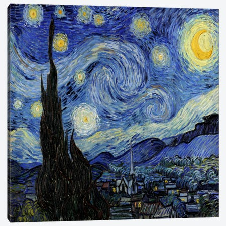 The Starry Night Canvas Print #1523} by Vincent van Gogh Art Print