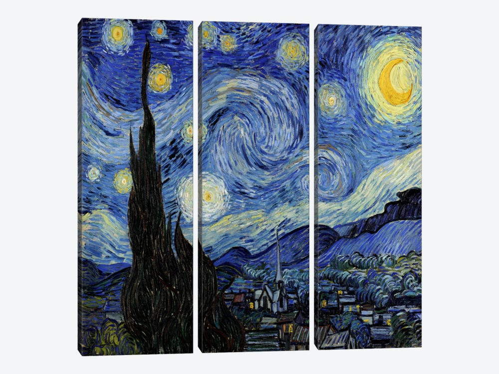 The Starry Night by Vincent van Gogh 3-piece Art Print