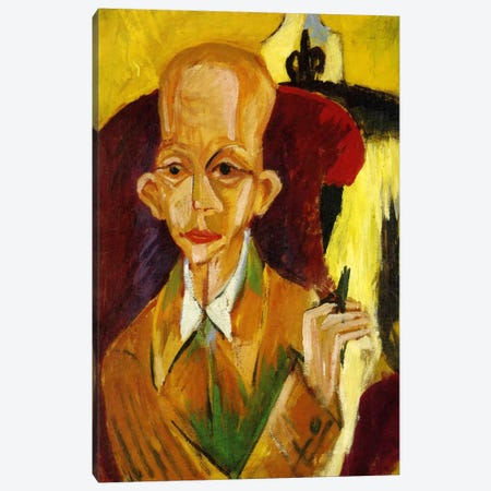 Portrait of Oskar Schlemmer Canvas Print #15258} by Ernst Ludwig Kirchner Canvas Art Print