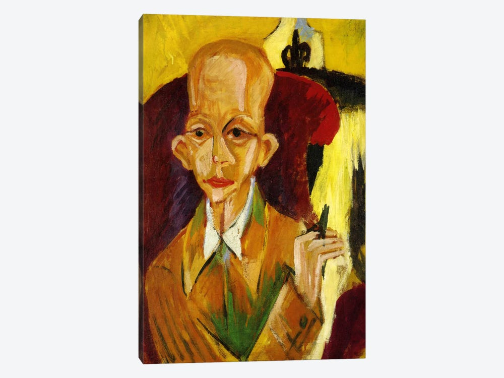 Portrait of Oskar Schlemmer by Ernst Ludwig Kirchner 1-piece Canvas Artwork