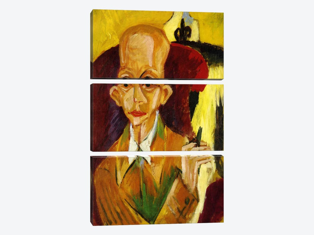 Portrait of Oskar Schlemmer by Ernst Ludwig Kirchner 3-piece Canvas Wall Art