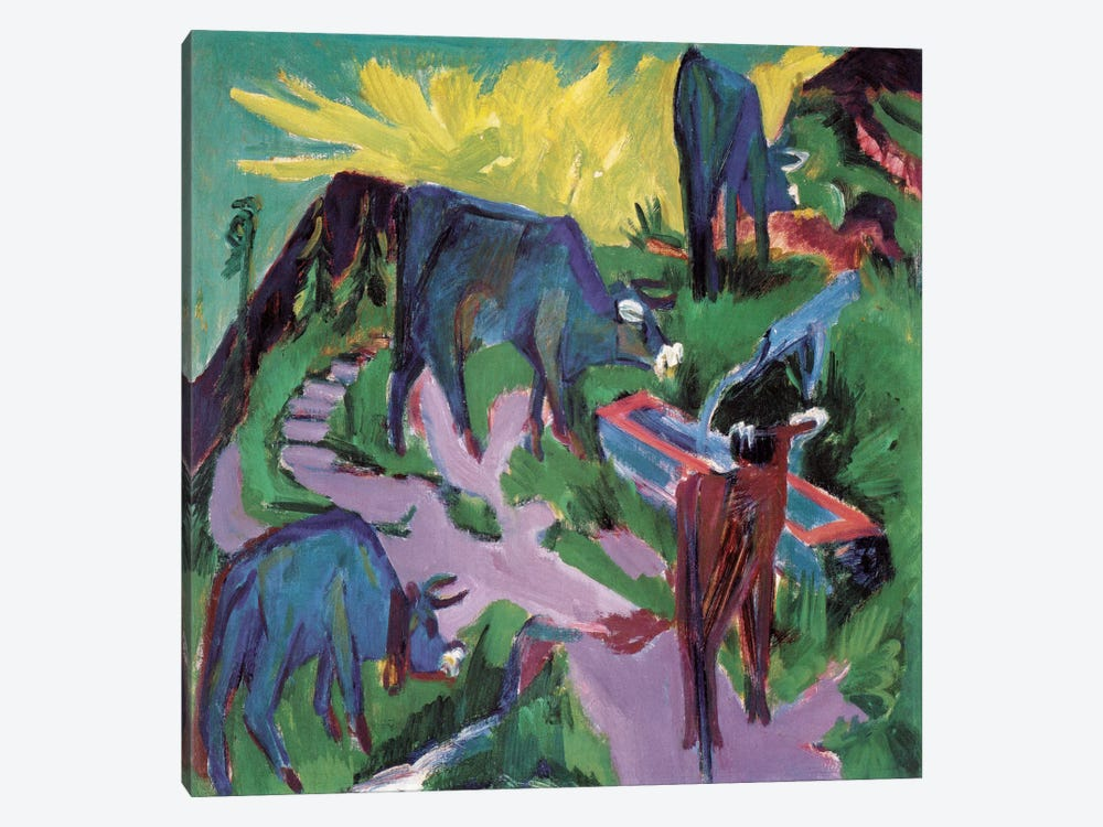 Cows at Sunset by Ernst Ludwig Kirchner 1-piece Canvas Art Print