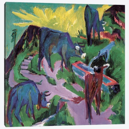 Cows at Sunset Canvas Print #15262} by Ernst Ludwig Kirchner Canvas Art