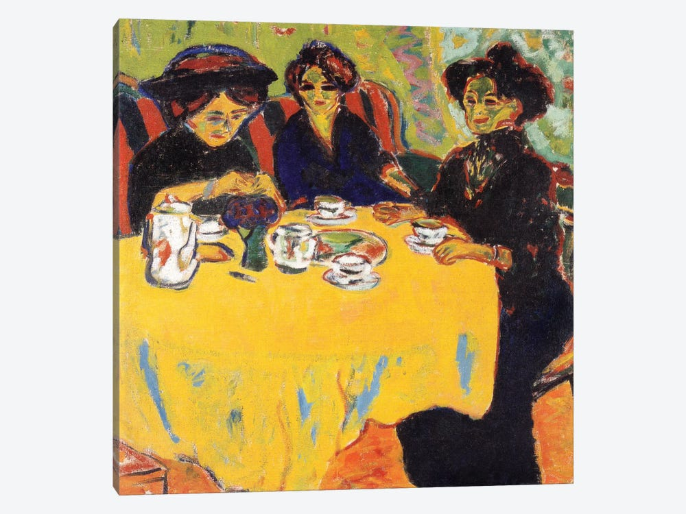 Coffee Drinking Women, 1907 by Ernst Ludwig Kirchner 1-piece Canvas Art