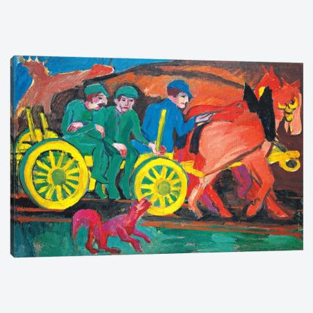 Horses with Three Farmers Canvas Print #15264} by Ernst Ludwig Kirchner Canvas Art Print