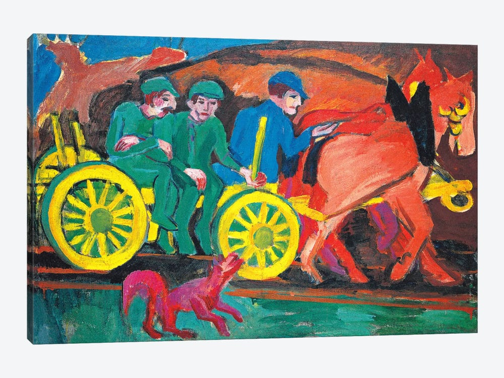 Horses with Three Farmers by Ernst Ludwig Kirchner 1-piece Canvas Art Print