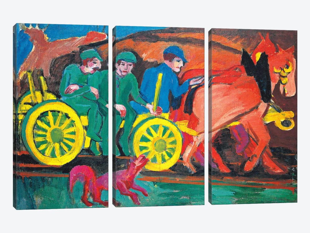 Horses with Three Farmers by Ernst Ludwig Kirchner 3-piece Art Print