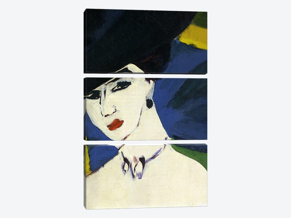 Female Nude with a Black Hat by Ernst Ludwig Kirchner 3-piece Canvas Wall Art