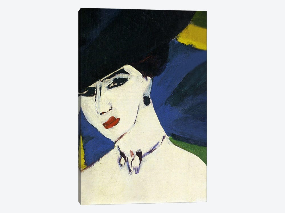 Female Nude with a Black Hat by Ernst Ludwig Kirchner 1-piece Canvas Artwork