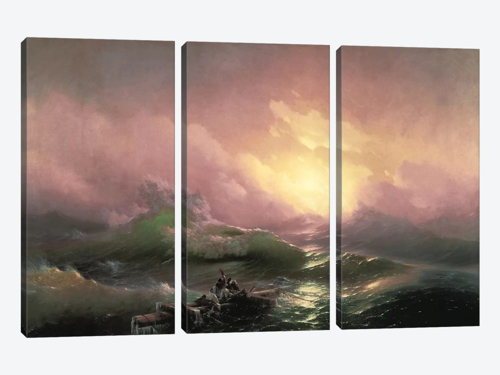 The Ninth Wave, 1850 by Ivan Aivazovsky 3-piece Canvas Print