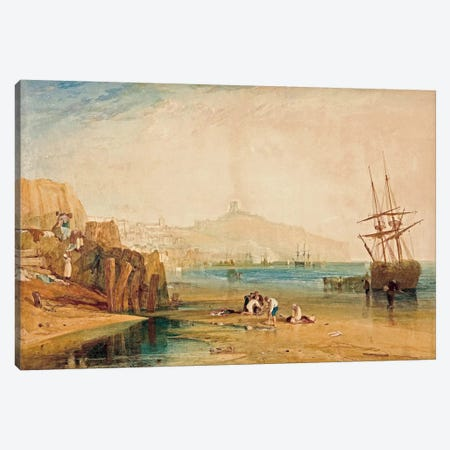 Scarborough Town and Castle: Morning Boys Catching Crabs, 1810 Canvas Print #15269} by J.M.W. Turner Canvas Wall Art