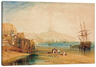 Scarborough Town and Castle: Morning Boys Catching Crabs, 1810 Canvas Art Print