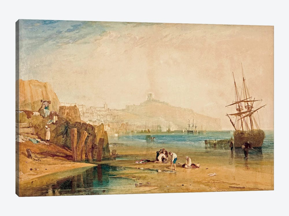 Scarborough Town and Castle: Morning Boys Catching Crabs, 1810 by J.M.W Turner 1-piece Canvas Wall Art