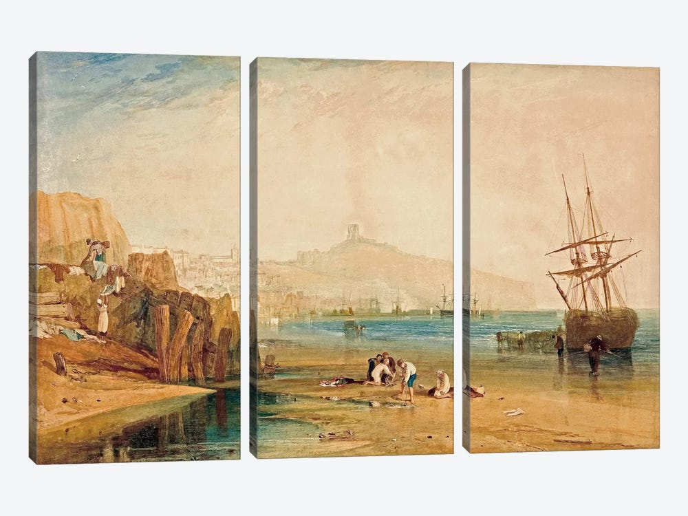 Scarborough Town and Castle: Morning Boys Catching Crabs, 1810 by J.M.W. Turner 3-piece Canvas Wall Art