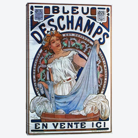 Bleu Deschamps, 1897 Canvas Print #15276} by Alphonse Mucha Canvas Artwork