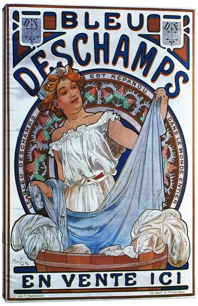 Bleu Deschamps, 1897 by Alphonse Mucha Canvas Artwork
