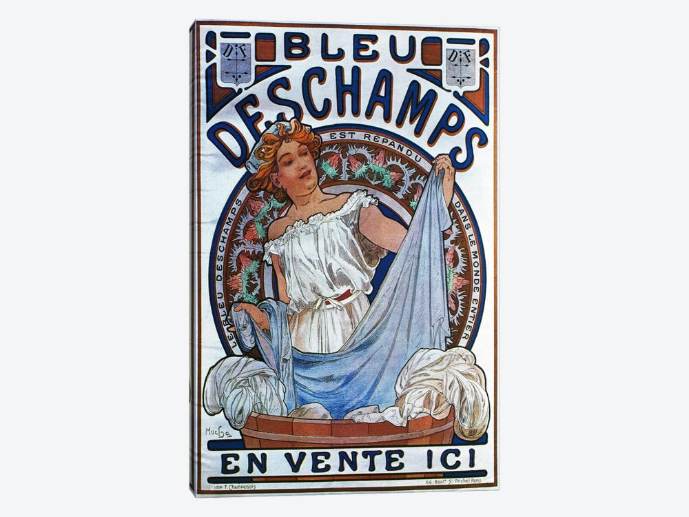 Bleu Deschamps, 1897 by Alphonse Mucha 1-piece Canvas Artwork