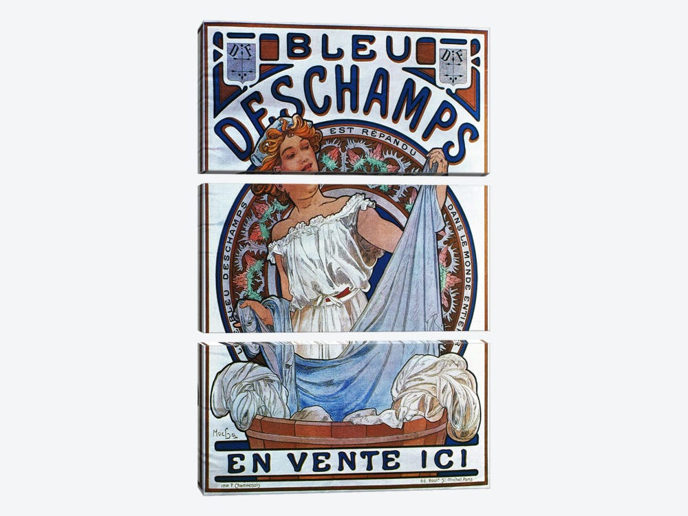 Bleu Deschamps, 1897 by Alphonse Mucha 3-piece Canvas Art