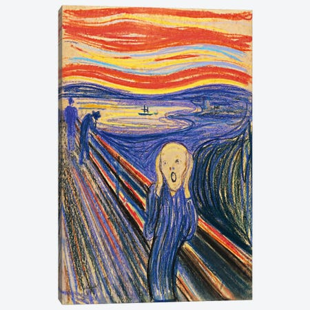 The Scream, 1895 (Pastel On Cradboard) Canvas Print #15281} by Edvard Munch Canvas Artwork