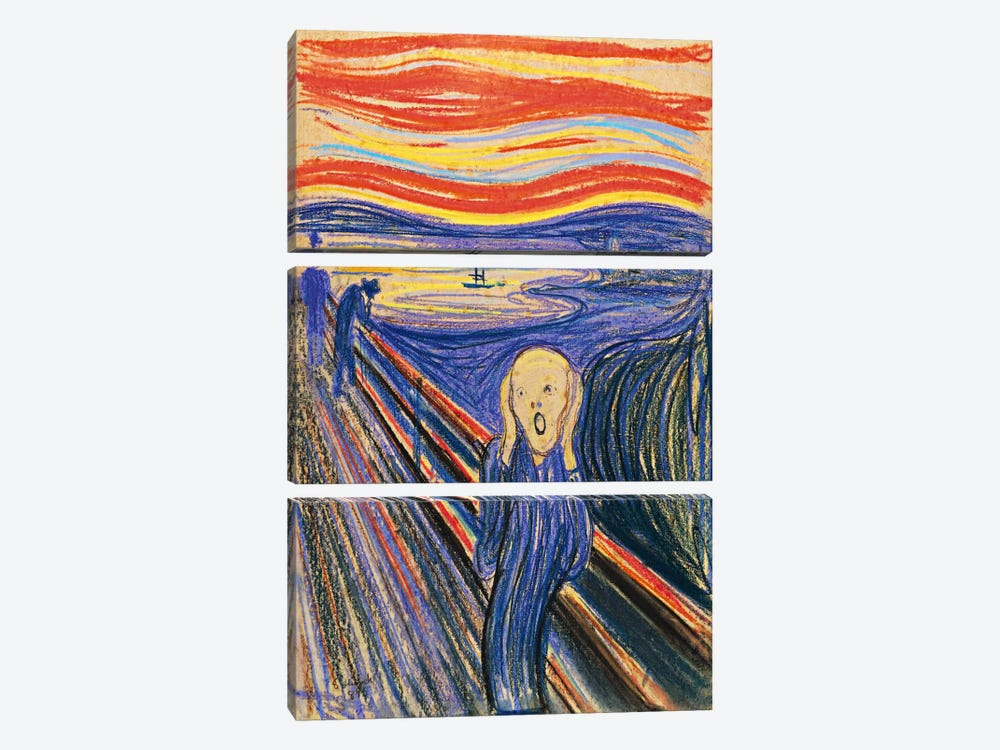 The Scream, 1893 by Edvard Munch 3-piece Canvas Art
