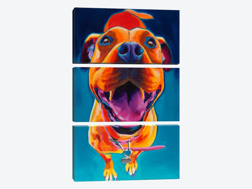 Pittie Party by DawgArt 3-piece Canvas Print
