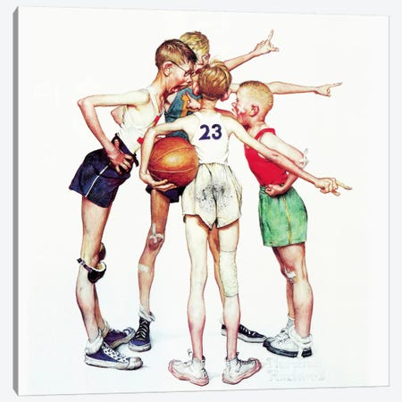 Oh yeah (Four Sporting Boys: Basketball) Canvas Print #1530} by Norman Rockwell Canvas Wall Art