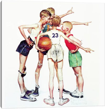 Oh yeah (Four Sporting Boys: Basketball) by Norman Rockwell Canvas Wall Art