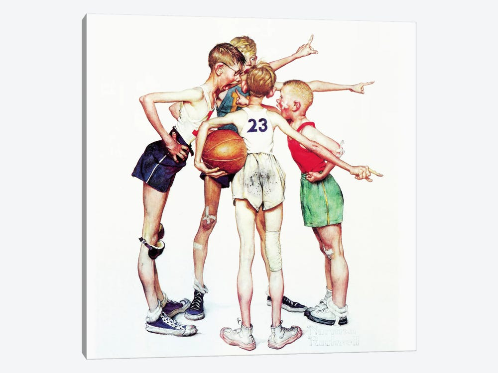 Oh yeah (Four Sporting Boys: Basketball) by Norman Rockwell 1-piece Canvas Art Print