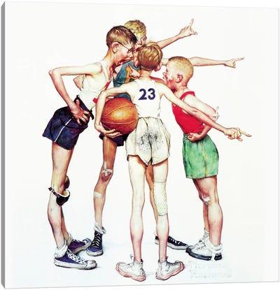 Oh yeah (Four Sporting Boys: Basketball) Canvas Art Print