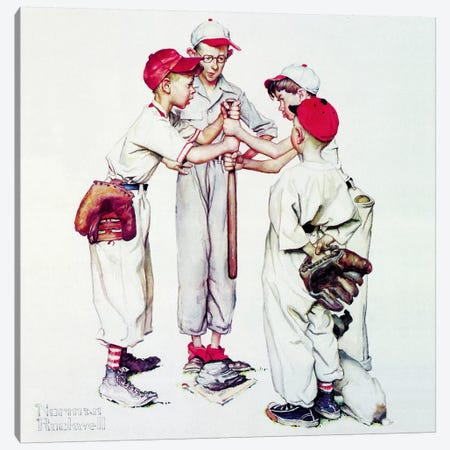Choosing up (Four Sporting Boys: Baseball) Canvas Print #1531} by Norman Rockwell Canvas Artwork