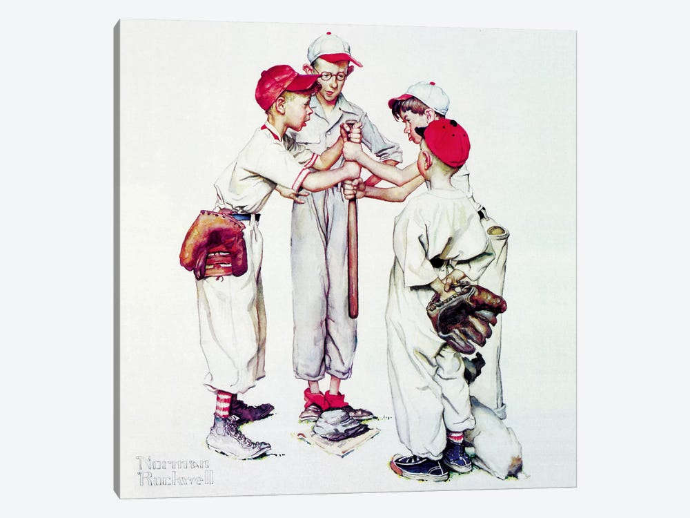 Choosing up (Four Sporting Boys: Baseball) by Norman Rockwell 1-piece Canvas Wall Art
