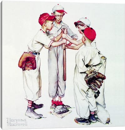 Choosing up (Four Sporting Boys: Baseball) Canvas Art Print