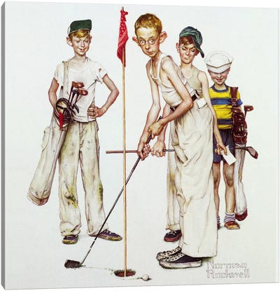 Missed (Four Sporting Boys: Golf) by Norman Rockwell Canvas Art