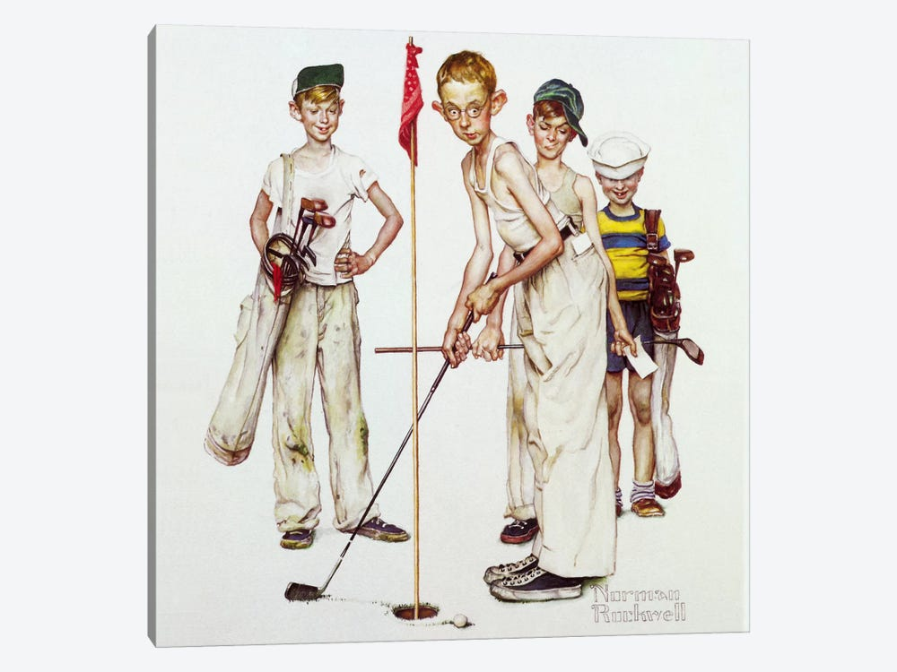 Missed (Four Sporting Boys: Golf) by Norman Rockwell 1-piece Canvas Print