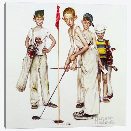 Missed (Four Sporting Boys: Golf) Canvas Print #1532} by Norman Rockwell Canvas Art