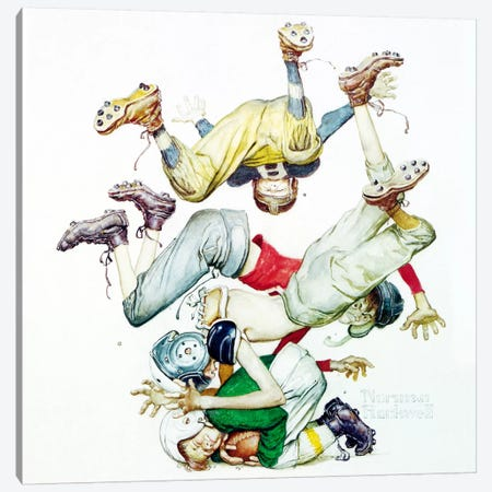 First Down (Four Sporting Boys: Football) Canvas Print #1533} by Norman Rockwell Canvas Wall Art