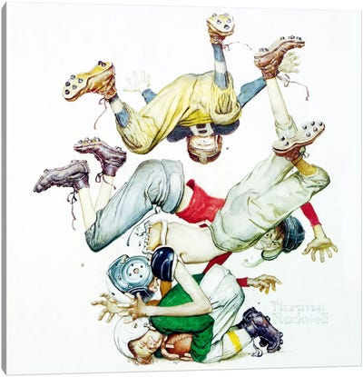 First Down (Four Sporting Boys: Football) by Norman Rockwell Canvas Wall Art
