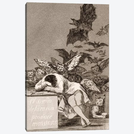 Los Caprichos: The Sleep of Reason Produces Monsters, Plate 43 Canvas Print #15347} by Francisco Goya Canvas Art