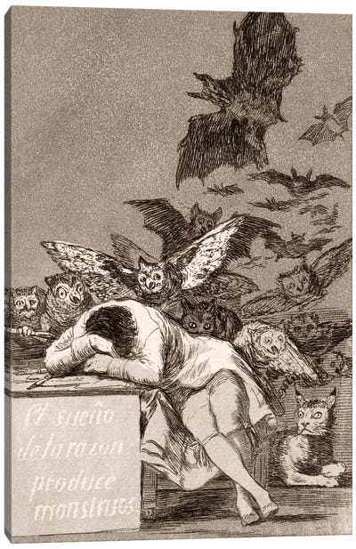 Los Caprichos: The Sleep of Reason Produces Monsters, Plate 43 Canvas Art Print