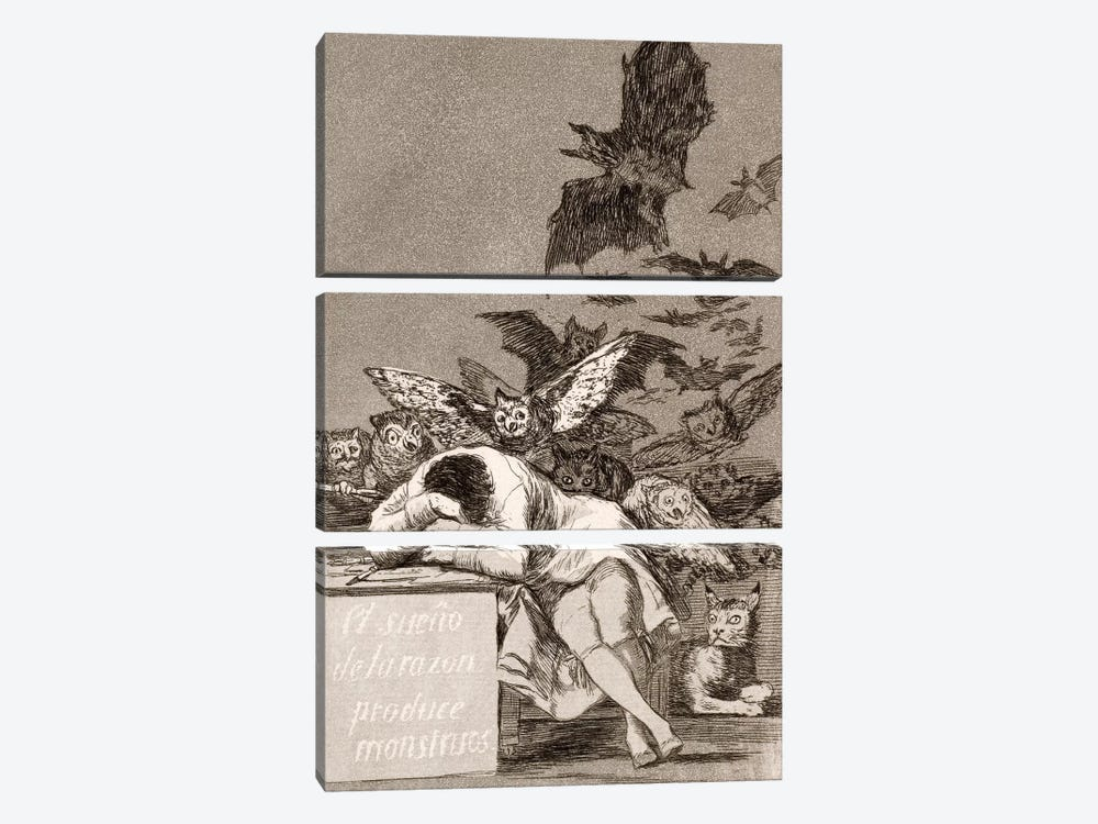 Los Caprichos: The Sleep of Reason Produces Monsters, Plate 43 by Francisco Goya 3-piece Canvas Print
