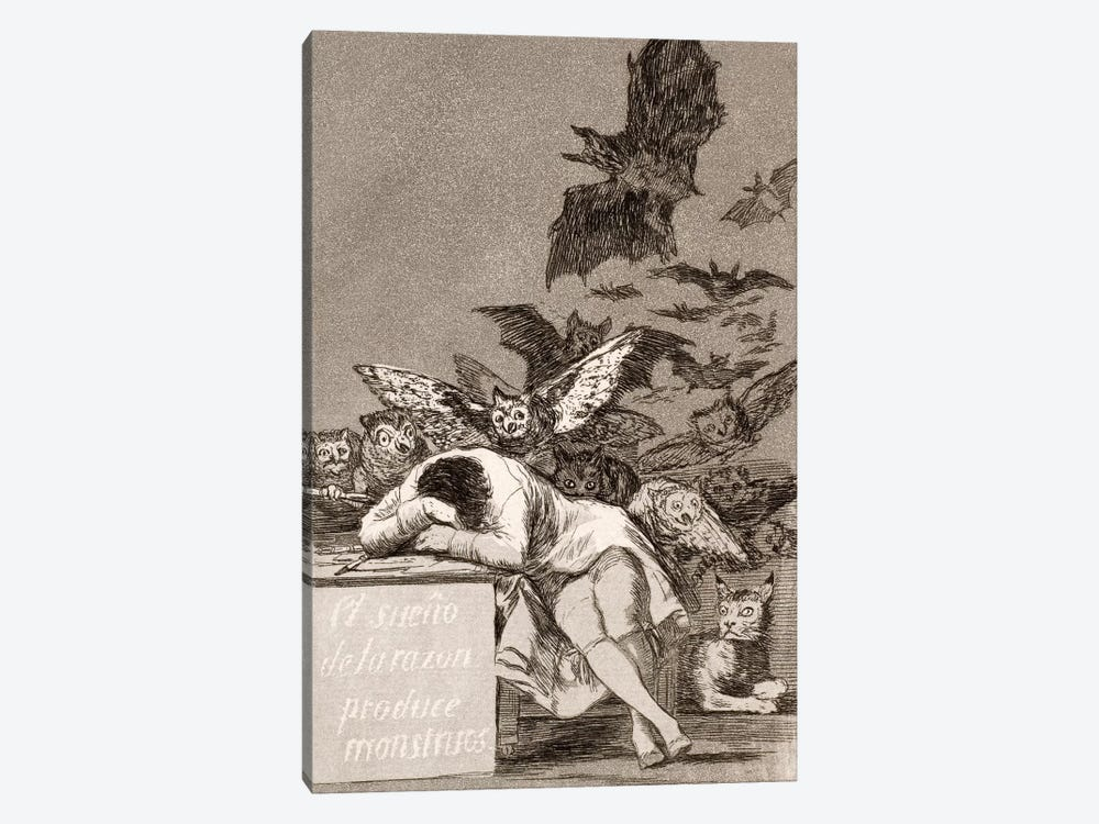 Los Caprichos: The Sleep of Reason Produces Monsters, Plate 43 by Francisco Goya 1-piece Canvas Print
