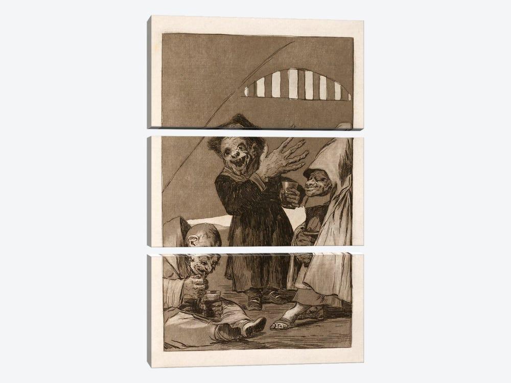 Los Caprichos:Duendecitos (Elves), Plate 49,1799 by Francisco Goya 3-piece Canvas Print