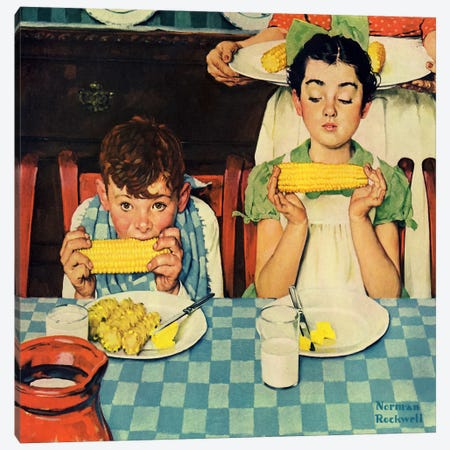 Who's Having More Fun (Kids Eating Corn) Canvas Print #1534} by Norman Rockwell Canvas Art Print