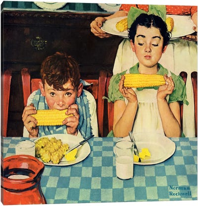 Who's Having More Fun (Kids Eating Corn) by Norman Rockwell Canvas Art Print