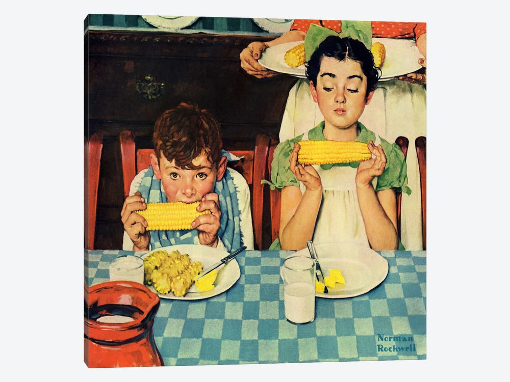 Who's Having More Fun (Kids Eating Corn) by Norman Rockwell 1-piece Canvas Print